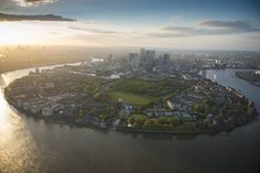 Isle of Dogs looking north to Canary Wharf - BBC Bbc, London Life, East London, London City Airport, London Docklands, Isle Of Dogs, London Night, Aerial Images, London Skyline