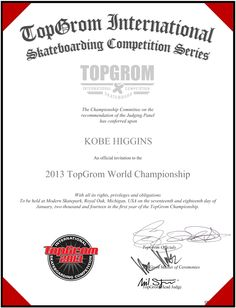 KOBE HIGGINS The Championship, Skate Park, Michigan, Hold On, Competition, Invitations, Olsen, Stone, Robert Smith
