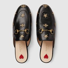 Princetown embroidered leather slipper - Mens Gucci - Ideas of Mens Gucci - Princetown embroidered leather slipper Gucci Women's Moccasins & Loafers Gucci Mules, Princetown Gucci, Gucci Horsebit Loafers, Gucci Loafers Women, Gucci Slipper, Loafers Outfit, Loafer Shoes, Gucci Outfits, Fall Outfits