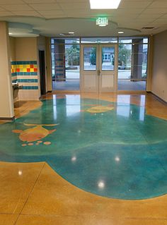 beautiul painted concrete floor with fish and ocean pattern
