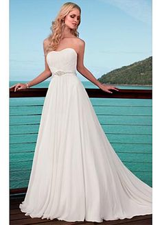 Elegant A-line Chaple Chiffon Wedding Dress For Your Beach Wedding #Dressilyme