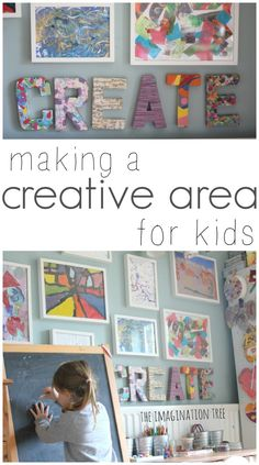 Love this kids art display and the colorful CREATE sign!