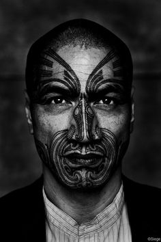 * Maori Moko, or Ta Moko is the tradtional facial tattooing of the Maori people of New Zealand ~ Its memebers still practice the act of Moko with modern machines, but traditionally they where acutally carved into the face by Tohunga-Ta-Moko using a Uhi which is basically a chisel and then had soot from the burnt embers of a tree for the black coloring for the face *
