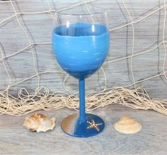 Ocean Blues Wine Glass with Starfish, Starfish Wine Glass, Tropical Wine Glass, Hand Painted by TropicalTLC on Etsy