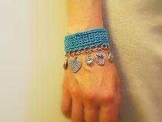 Crochet Turquoise Heart Charm Bracelet Cotton Crochet by JustColor, $26.00