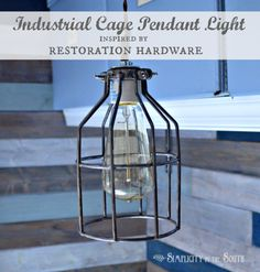 DIY industrial cage pendant light inspired by Restoration Hardware.