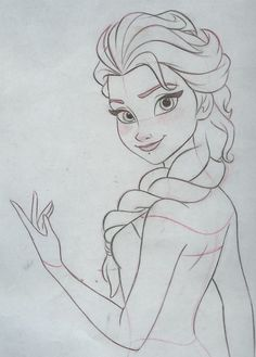 Final clean up drawing. Pencil and paper. Final clean up drawing. Pencil and paper. Disney Drawings Sketches, Frozen Drawings, Girl Drawing Sketches, Disney Princess Drawings, Art Drawings Sketches Simple, Cartoon Drawings, Cute Drawings, Drawing Disney, Pencil Drawings
