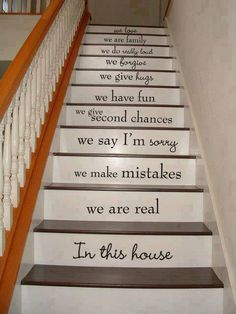 "DIY stair risers painted with ""we are"" quotes and inspiration  home decor"