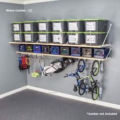 The most garage storage in volume and strength on the market is the Rhino Combo. Trust our garage shelves that are made in the USA and easy to install. Garage Storage Shelves, Garage Organisation, Garage Storage Solutions, Garage Shelf, Home Organization, Garage Doors, Garage Workbench, Organized Garage, Garage Playroom
