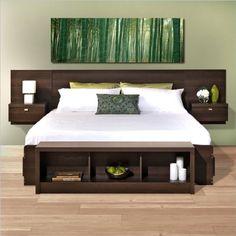 Prepac Series 9 Platform Storage Bed with Floating Headboard in Espresso - Queen:Amazon:Home & Kitchen