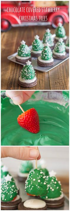 Chocolate-Covered Strawberry Christmas Trees ~ can also use as a cupcake/cake topper Christmas Snacks, Xmas Food, Christmas Cooking, Noel Christmas, Christmas Goodies, Christmas Candy, Holiday Treats, Holiday Recipes, Christmas Finger Foods