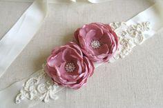 Dusty Pink Bridal Beaded Flower Sash, Bridal Gown Flower Sash, Embroidered Lace Bridal Sash, Ivory Bridal Sash, Floral Wedding Accessory