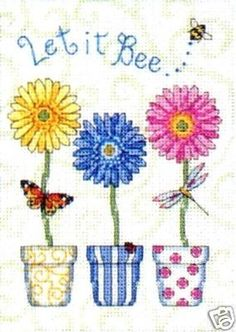 Dimensions Counted #crossstitch Let It Bee #DIY #crafts #decor #needlework #crossstitching #gift #flowers