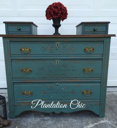 Antique dresser painted with Miss Mustard Seed's Kitchen Scale milk paint, sealed with Annie Sloan clear and dark wax. The top was restained with a mix of general Finishes Java/antique walnut gel stain.