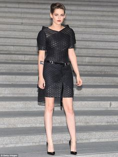 Dazzling:Kristen Stewart showed that is more than capable of rocking sophisticated glamour when she stepped out at the Chanel Cruise Collection 2015/2016 showcase in Seoul, South Korea on Monday