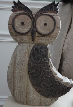 All WoodWorking Ideas & Crafts – Woodworking Projects & Tools Wood Owls, Wood Bird, Wood Craft Patterns, Owl Patterns, Wooden Projects, Wooden Crafts, Owl Crafts, Diy And Crafts, Wood Scraps