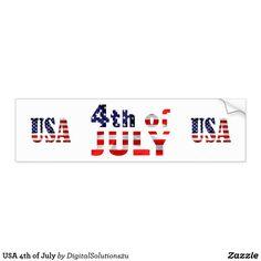 USA 4th of July Bumper Sticker