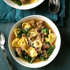 My husband's grandmother used to make this soup with her own homemade sausage and tortellini. Since the recipe has been passed down, we don't hand make those ingredients, but this version is almost … Spinach Tortellini Soup, Spinach Soup, Recipes With Sausage Tortellini, Low Carb Burger, Best Soup Recipes, Dinner Recipes, Healthy Recipes, Dinner Ideas, Sunday Recipes