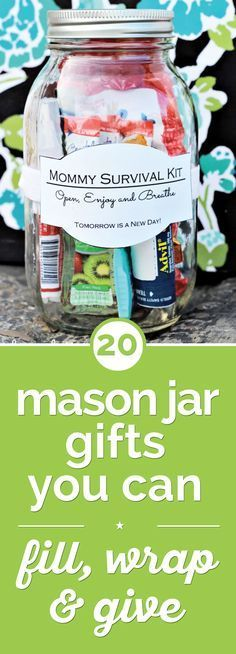 Give custom and clever presents this year with these 20 mason jar gifts, including baking mixes, cocktails, and even mommy survival kits in a jar!