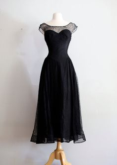 Vintage 1940's Black Lace Cocktail Dress With Illusion Sweetheart Neckline ~ Vintage 40's Dress Black Lace Party Dress
