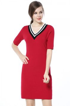 Women's Half Sleeve Knit V Neck Slim Fit Red Simple Straight Knitwear Sweater Dress Short Sleeve Dresses, Dresses With Sleeves, Knit Sweater Dress, Half Sleeves, Knitwear, Dresser, Knitting, Sweaters, Clothes