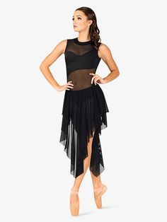 Double Platinum Womens Performance Asymmetrical Mesh Tank Dress