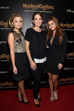 Jacquie Lee, Tina Fey and Olivia Holt attend Disneynature's Monkey Kingdom special screening celebrating the film's September15th Blu-ray / Digital HD release on September 2, 2015 in New York City.