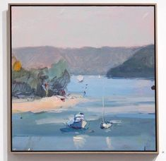 Something about hazy days and the gentle lap of water at the feet. Now at Aro Gallery. Abstract Landscape Painting, Landscape Paintings, Abstract Art, Lake Painting, Picture Places, Square Canvas, Pastel, Painting Inspiration, Wall Art