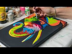 Acrylic painting - Colored Elephant(4k) - YouTube