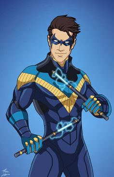 Nightwing edit) 01 by phil-cho on DeviantArt Dc Comics Characters, Dc Comics Art, Movie Characters, Marvel Dc, Marvel Comics, Nightwing And Batgirl, Nightwing Costumes, Batman Hush, Batman Robin