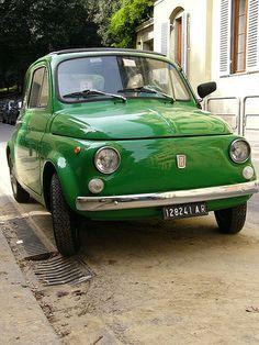 Green vintage Fiat 500. Firenze, IT #TuscanyAgriturismoGiratola