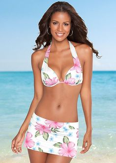 MARILYN PUSH UP BRA TOP, SKIRTED SWIM BIKINI BOTTOM