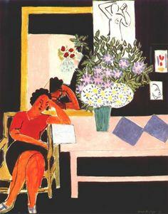 """Liseuse sur fond noir, 1939 / Reading Woman on a Black Background"" by Henri Matisse (Artist. France,1869-1954). Centre Georges Pompidou,  Musée National d'Art Moderne, Paris, France. More on the artist: http://en.wikipedia.org/wiki/Henri_Matisse     http://www.biografo.info/biografias/ver/46017/Henri-Matisse"