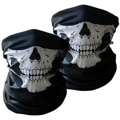 12c442ac6b3 LCY Motorcycle Face Masks 2 Pieces Skull Mask Half Face for Out Riding  Motorcycle Black