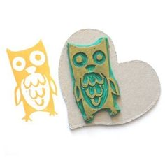 owl - handmade rubber stamp --- he makes an impression. Stamp Printing, Screen Printing, Clay Stamps, Diy And Crafts, Paper Crafts, Stamp Carving, Handmade Stamps, Postage Stamps, Hand Carved