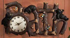 cabin bear decor   Northwoods Bath Time Bear Clock Wall Decor