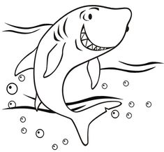Friendly shark coloring page