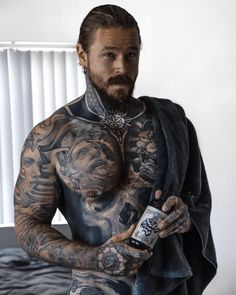 Sexy Tattooed Men, Bearded Tattooed Men, Bearded Men, Tattoed Guys, Viking Beard, Viking Men, Hot Guys Tattoos, Men With Tattoos, Tatted Men