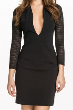 Love the Sleeve Fabric! Love the Neckline! Super Sexy Black Deep V Neck Long Sleeve Dress #Sexy #LBD #V_Neck #BodyCon #Little #Black #Dress #Fashion