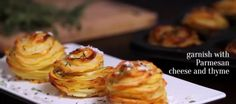 A fantastic recipe for potatoes with Parmesan and thyme Parmesan Potato Stacks Recipe, Parmesan Potatoes, Sliced Potatoes, Potato Dishes, Potato Recipes, Vegetable Recipes, Muffins, Yummy Appetizers, Soup And Salad
