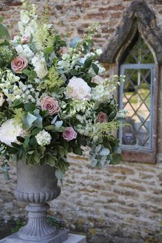 Large natural style urn arrangements for the ceremony. My urns are white not… Church Wedding Flowers, Altar Flowers, Large Flower Arrangements, Wedding Flower Arrangements, Memorial Flowers, Floral Wedding, Trendy Wedding, Bouquets, Beautiful Flowers