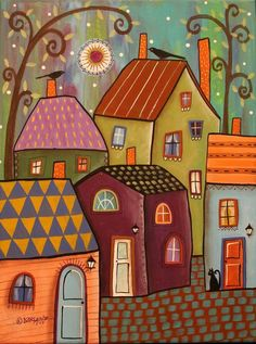 Tiny Towne 12x16 ORIGINAL CANVAS PAINTING houses cat FOLK ART Karla Gerard #FolkArtAbstractPrimitive #artpainting
