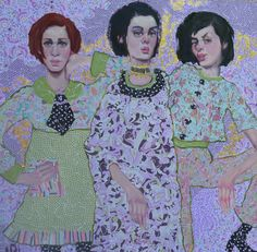 """Sisters Three 36"""" x 36"""" oil and mixed media on canvas"""