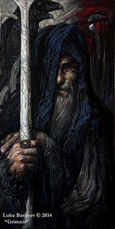"""""""Grimnir"""" By Luka Basyrov – Norse Mythology-Vikings-Tattoo Odin Norse Mythology, Norse Pagan, Pagan Art, Medieval Fantasy, Dark Fantasy, Fantasy Art, Viking Art, Viking Warrior, Loki"""