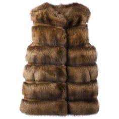 Liska fur gilet (238.825 RUB) ❤ liked on Polyvore featuring outerwear, vests, brown, fur vests, fur gilet vest, fur gilet, quilted vest and brown vest