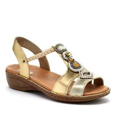 This Gold & Platinum Metallic Hera Leather Sandal is perfect! #zulilyfinds