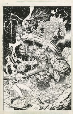 JIM LEE FANTASTIC FOUR COVER -  HEROES REBORN TPB AND WIZARD #55 COVER