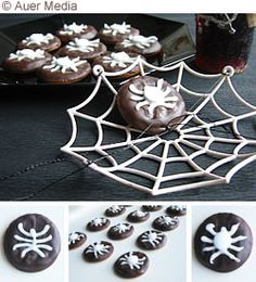 decorate store bought chocolate covered cookies with icing spiders - easy as can be. halloween food