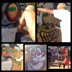 Chris Brown painting today at the Brooklyn projects Chris Brown via Barizaa_Breezy