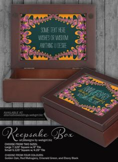 Bohemian Tropics Cute Rustic Keepsake Box by webgrrl Pink Gift Box, Wooden Gift Boxes, Inside The Box, Some Text, Golden Oak, W 6, Keepsake Boxes, Black Velvet, Decorative Boxes